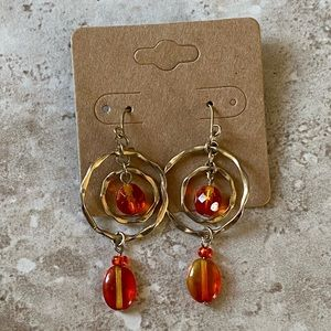 5/$25 orange and gold earrings